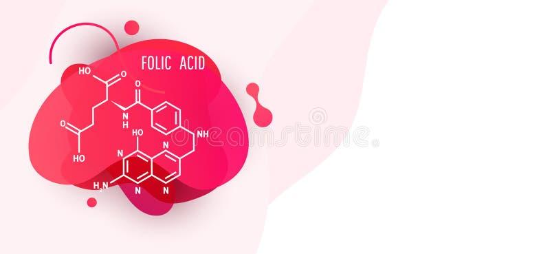 Ιατρική έννοια τύπων Αφηρημένο υγρό μορφής χρώματος στοιχείο σχεδίου υγρής κλίσης ζωηρόχρωμο δυναμικό με το φολικό οξύ απεικόνιση αποθεμάτων