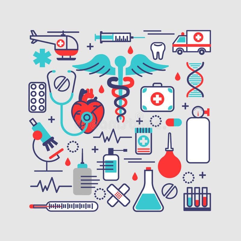 Ιατρική, έννοια υγειονομικής περίθαλψης στο σύγχρονο επίπεδο σχέδιο γραμμών διάνυσμα απεικόνιση αποθεμάτων