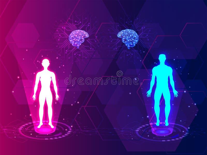 Ιατρική έννοια Futurstic, σώμα και ανίχνευση εγκεφάλου του αρσενικού και του φ ελεύθερη απεικόνιση δικαιώματος