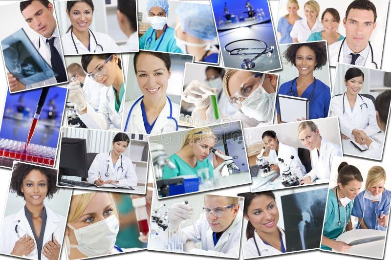 Ιατρική έρευνα & νοσοκομείο νοσοκόμων γιατρών Montage στοκ φωτογραφία