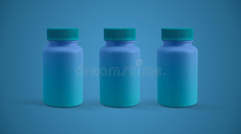 Ιατρική ή σύγχρονη μπροστινή άποψη πλαστικών εμπορευματοκιβωτίων χαπιών διανυσματική απεικόνιση
