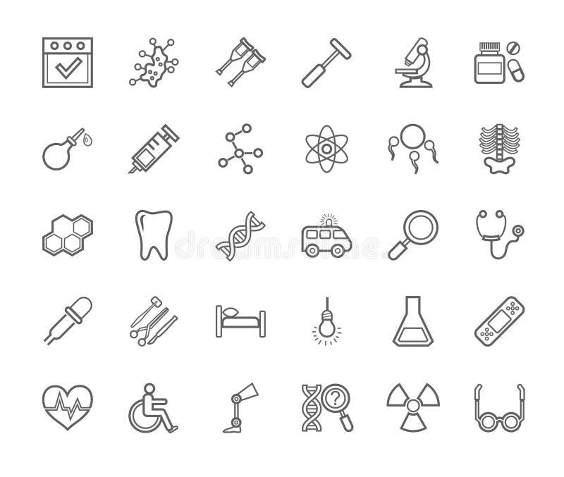 Ιατρική, εικονίδια, μονοχρωματικός, σχέδιο περιγράμματος, επίπεδο, διάνυσμα ελεύθερη απεικόνιση δικαιώματος