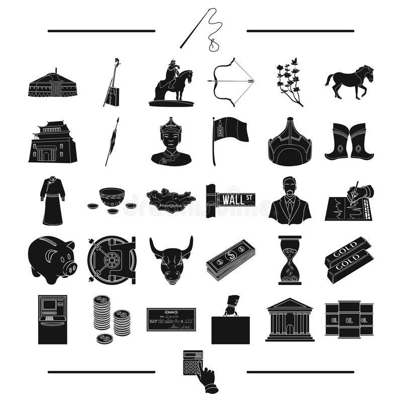 Ιατρική, εργαλεία, επιχείρηση και άλλο εικονίδιο Ιστού στο μαύρο ύφος ταξίδι, τουρισμός, εθνικός, εικονίδια στην καθορισμένη συλλ απεικόνιση αποθεμάτων