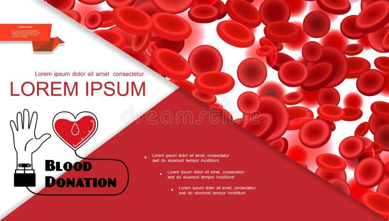 Ιατρική ζωηρόχρωμη σύνθεση δωρεάς αίματος διανυσματική απεικόνιση