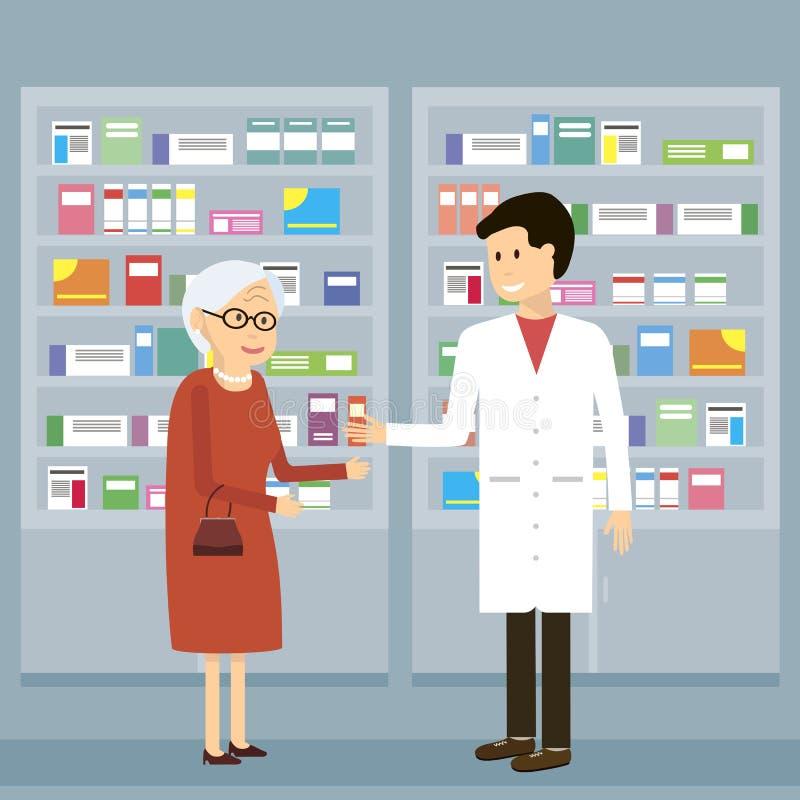 Ιατρική ηλικιωμένων γυναικών φαρμακοποιών ελεύθερη απεικόνιση δικαιώματος