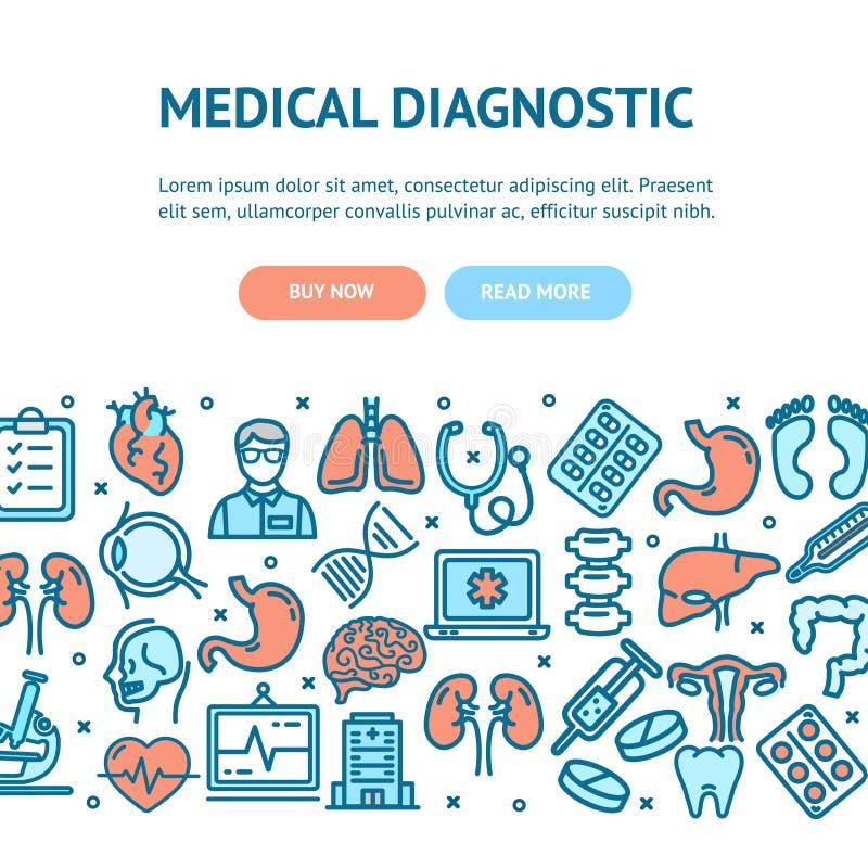 Ιατρική κάρτα αφισών εμβλημάτων ιπτάμενων διαγνωστικών διάνυσμα διανυσματική απεικόνιση