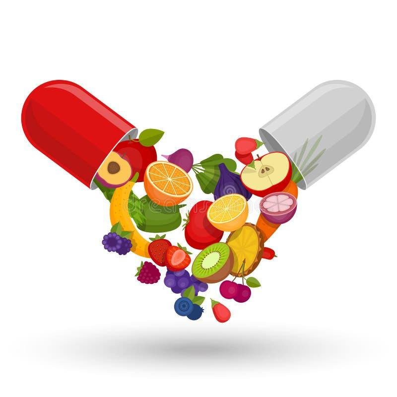 Ιατρική κάψα με τα φρούτα και λαχανικά Βιταμίνες και suppleme απεικόνιση αποθεμάτων