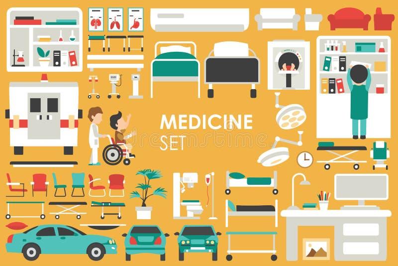 Ιατρική μεγάλη συλλογή στην επίπεδη έννοια υποβάθρου σχεδίου Στοιχεία Infographic που τίθενται με το γιατρό και τη νοσοκόμα προσω διανυσματική απεικόνιση