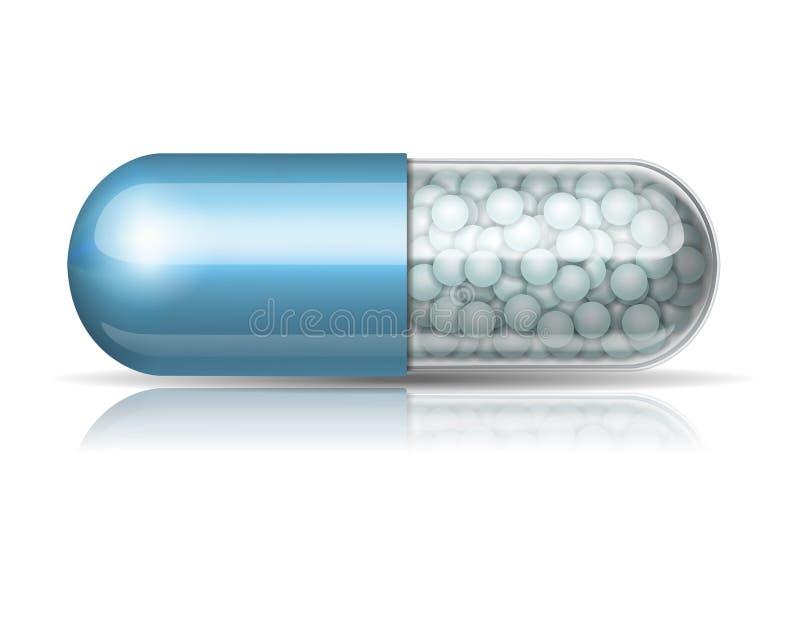 Ιατρική μπλε κάψα με τους κόκκους απεικόνιση αποθεμάτων