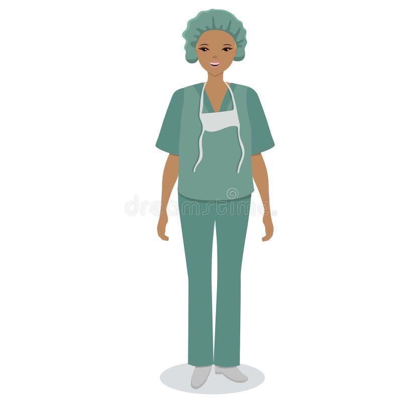 Ιατρική νοσοκόμα που απομονώνεται στο άσπρο υπόβαθρο E ελεύθερη απεικόνιση δικαιώματος