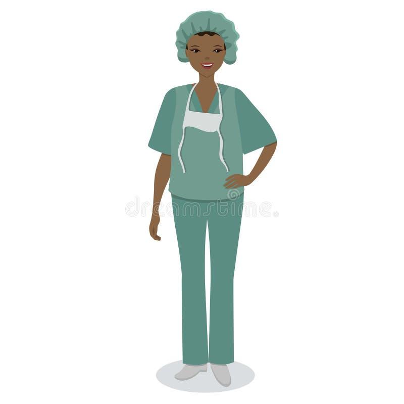 Ιατρική νοσοκόμα που απομονώνεται στο άσπρο υπόβαθρο E διανυσματική απεικόνιση