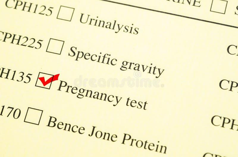 Ιατρική δοκιμή εγκυμοσύνης αιτήματος μορφής σημαδιών ελέγχου στοκ εικόνα με δικαίωμα ελεύθερης χρήσης