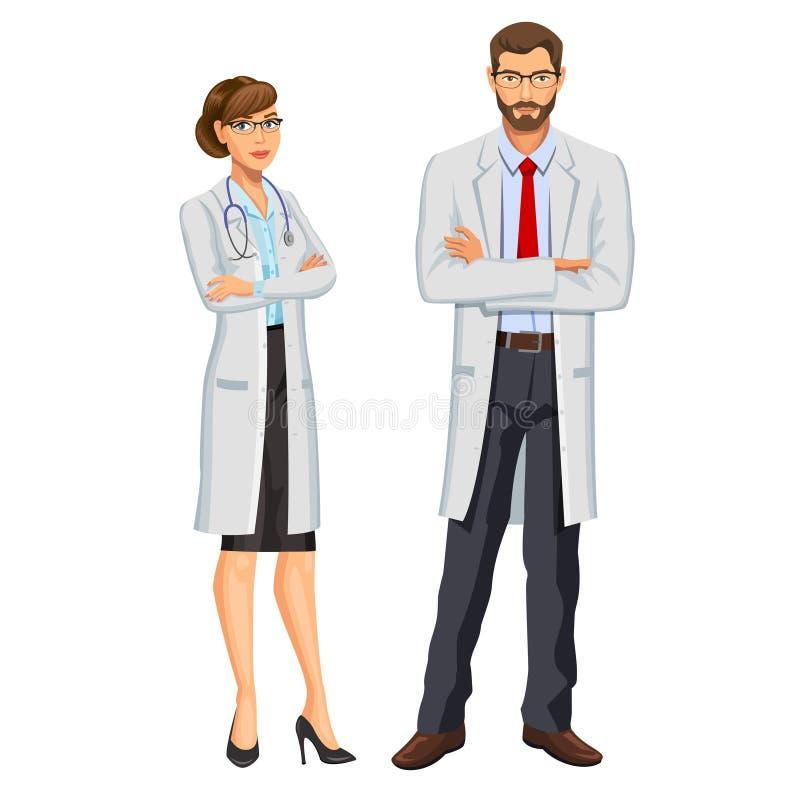 Ιατρική ομάδα Δύο γιατροί, άνδρας και γυναίκα με το στηθοσκόπιο απεικόνιση αποθεμάτων