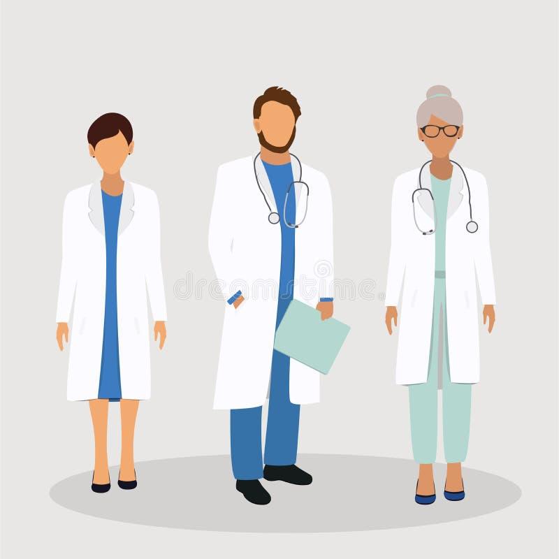 Ιατρική ομάδα προσωπικού νοσοκομείων υγειονομικής περίθαλψης ελεύθερη απεικόνιση δικαιώματος