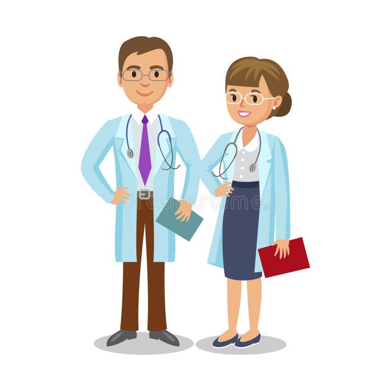 Ιατρική ομάδα Δύο γιατροί με τα στηθοσκόπια, άνδρας και γυναίκα ελεύθερη απεικόνιση δικαιώματος