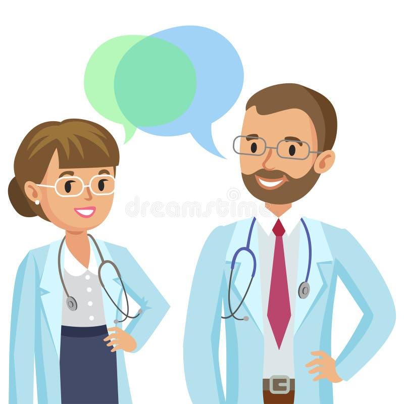 Ιατρική ομάδα Δύο γιατροί με τα στηθοσκόπια, άνδρας και γυναίκα διανυσματική απεικόνιση
