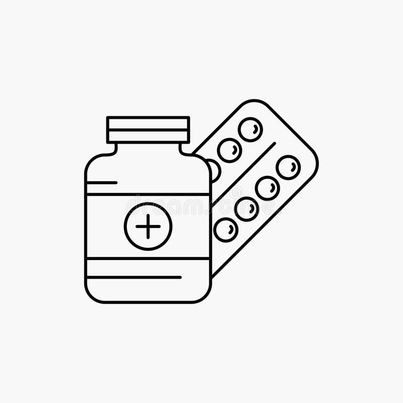 ιατρική, χάπι, κάψα, φάρμακα, εικονίδιο γραμμών ταμπλετών : διανυσματική απεικόνιση