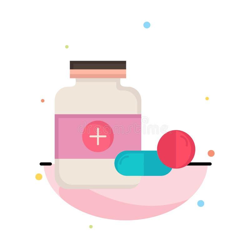 ιατρική, χάπι, κάψα, φάρμακα, επίπεδο διάνυσμα εικονιδίων χρώματος ταμπλετών ελεύθερη απεικόνιση δικαιώματος