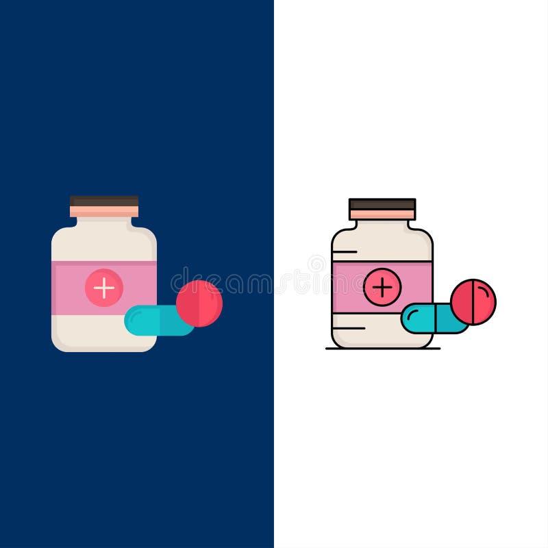 ιατρική, χάπι, κάψα, φάρμακα, επίπεδο διάνυσμα εικονιδίων χρώματος ταμπλετών απεικόνιση αποθεμάτων