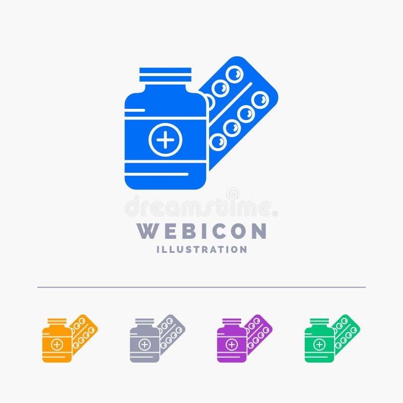 ιατρική, χάπι, κάψα, φάρμακα, ταμπλέτα 5 πρότυπο εικονιδίων Ιστού Glyph χρώματος που απομονώνεται στο λευκό r απεικόνιση αποθεμάτων