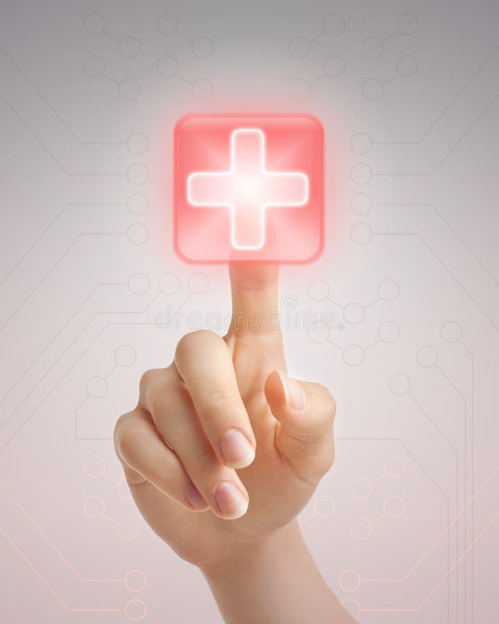 ιατρική ώθηση χεριών κουμπιών στοκ εικόνα