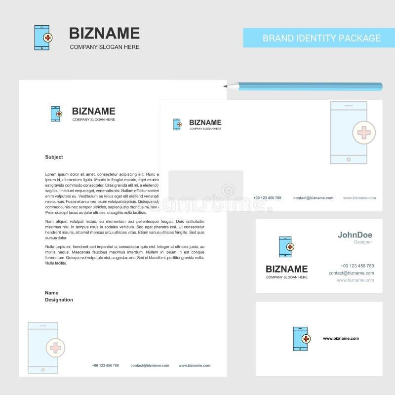 Ιατρική app επιχειρησιακή επικεφαλίδα, φάκελος και διανυσματικό πρότυπο σχεδίου καρτών επίσκεψης διανυσματική απεικόνιση