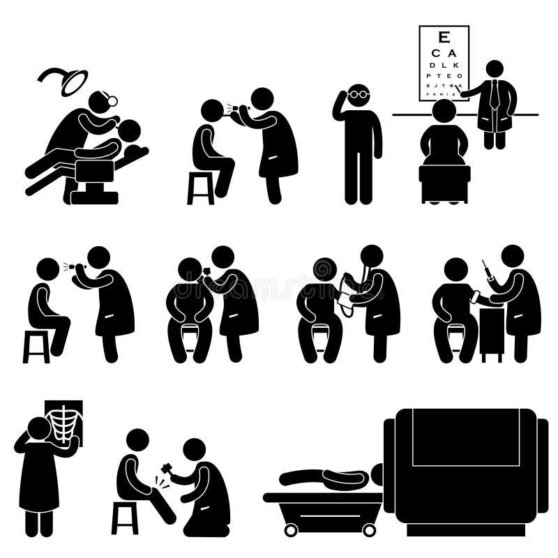 Ιατρικός έλεγχος σώματος υγείας επάνω στο εικονόγραμμα δοκιμής διανυσματική απεικόνιση