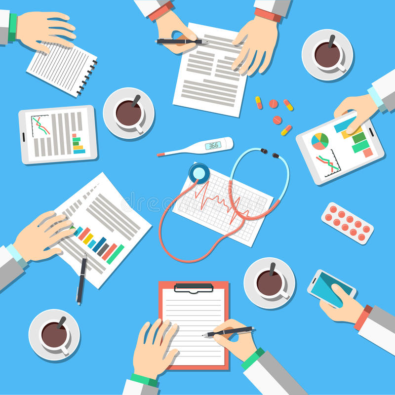 Ιατρικός εργασιακός χώρος διανυσματική απεικόνιση
