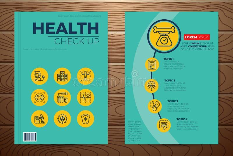 Ιατρικός και έλεγχος υγείας επάνω στην κάλυψη βιβλίων διανυσματική απεικόνιση
