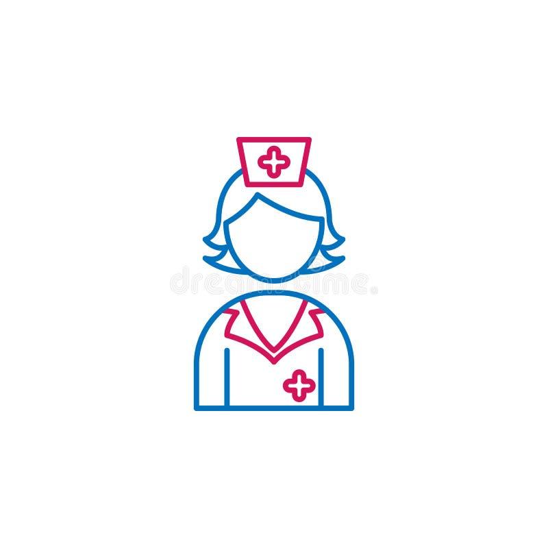 Ιατρικός, νοσοκόμα, χρωματισμένο κορίτσι εικονίδιο Στοιχείο της απεικόνισης ιατρικής Το εικονίδιο σημαδιών και συμβόλων μπορεί να διανυσματική απεικόνιση