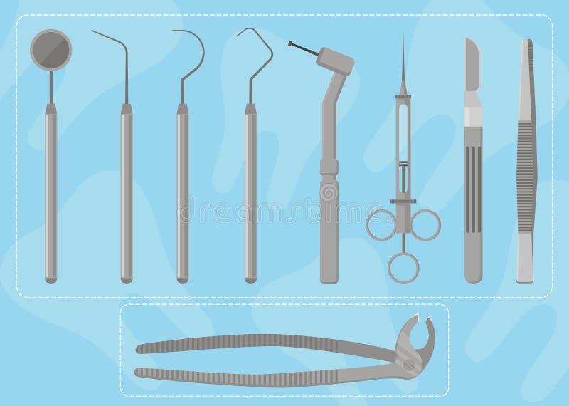 Ιατρικός οδοντίατρος οργάνων διανυσματική απεικόνιση