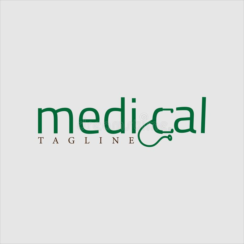 Ιατρικός πράσινος διανυσματικός εννοιολογικός σχεδίου λογότυπων ελεύθερη απεικόνιση δικαιώματος