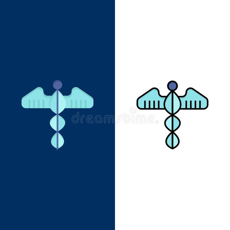 Ιατρικός, σύμβολο, καρδιά, υγεία, εικονίδια προσοχής Επίπεδος και γραμμή γέμισε το καθορισμένο διανυσματικό μπλε υπόβαθρο εικονιδ ελεύθερη απεικόνιση δικαιώματος