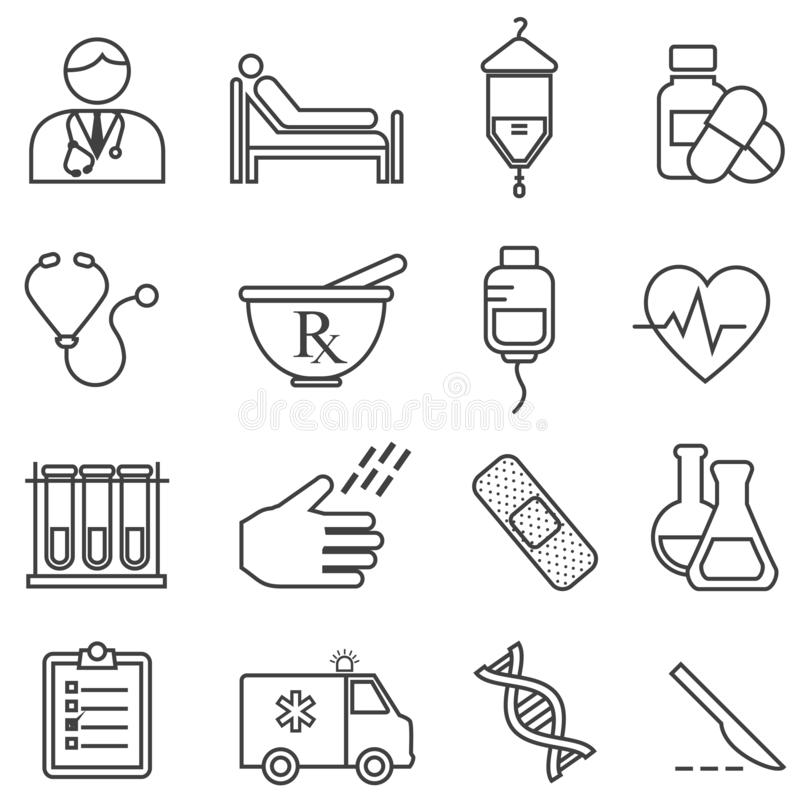 Ιατρικός, υγεία, εικονίδια γραμμών υγειονομικής περίθαλψης διανυσματική απεικόνιση