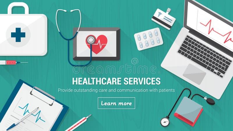 Ιατρικός υπολογιστής γραφείου ελεύθερη απεικόνιση δικαιώματος