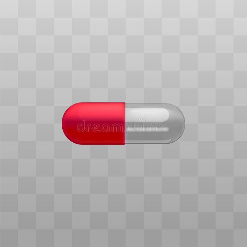 Ιατρικό διάνυσμα καψών φαρμάκων κόκκινο και διαφανές που απομονώνεται στο διαφανές υπόβαθρο ελεύθερη απεικόνιση δικαιώματος