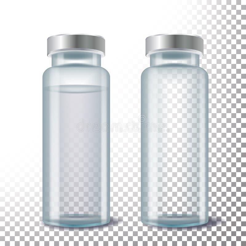 Ιατρικό διάνυσμα φιαλιδίων τρισδιάστατο ρεαλιστικό διαφανές ιατρικό φιαλίδιο γυαλιού απεικόνιση απεικόνιση αποθεμάτων