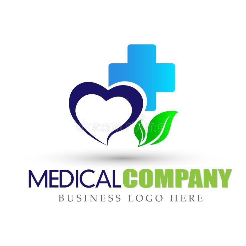 Ιατρικό διαγώνιο εικονίδιο λογότυπων φύλλων φύσης υγειονομικής περίθαλψης καρδιών στο άσπρο υπόβαθρο διανυσματική απεικόνιση