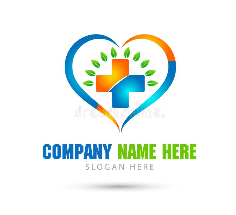 Ιατρικό διανυσματικό λογότυπο κλινικών wellness υγείας, λογότυπο μορφής καρδιών με την πράσινη απεικόνιση φύλλων Γιατρός, φαρμακε ελεύθερη απεικόνιση δικαιώματος