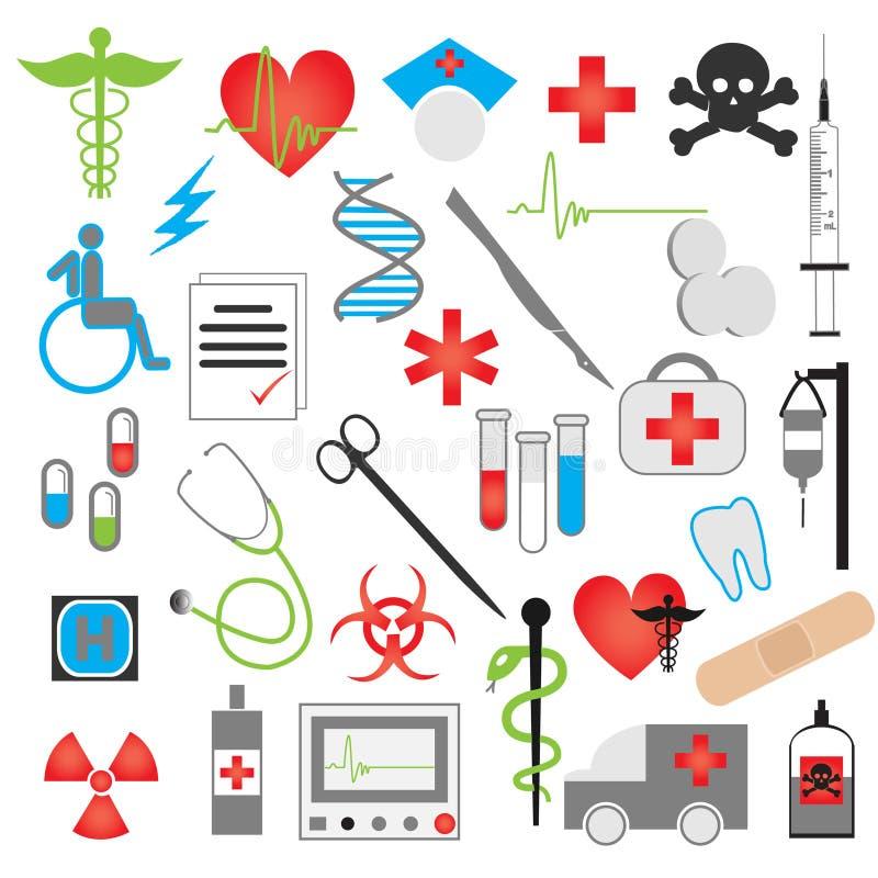 Ιατρικό διανυσματικό σύνολο εικονιδίων ελεύθερη απεικόνιση δικαιώματος