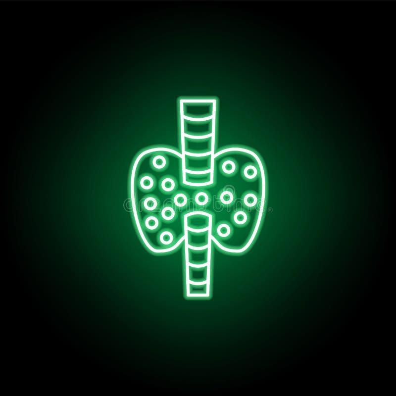 Ιατρικό, εικονίδιο θυροειδή στο ύφος νέου Στοιχείο της απεικόνισης ιατρικής Το εικονίδιο σημαδιών και συμβόλων μπορεί να χρησιμοπ διανυσματική απεικόνιση