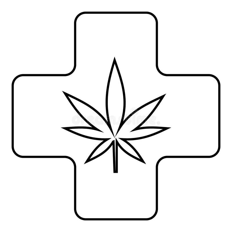 Ιατρικό εικονίδιο μαριχουάνα, ύφος περιλήψεων απεικόνιση αποθεμάτων