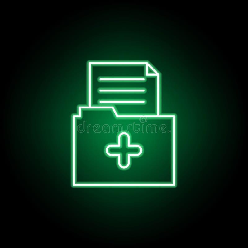 Ιατρικό εικονίδιο φακέλλων στο ύφος νέου Στοιχείο της απεικόνισης ιατρικής Το εικονίδιο σημαδιών και συμβόλων μπορεί να χρησιμοπο ελεύθερη απεικόνιση δικαιώματος