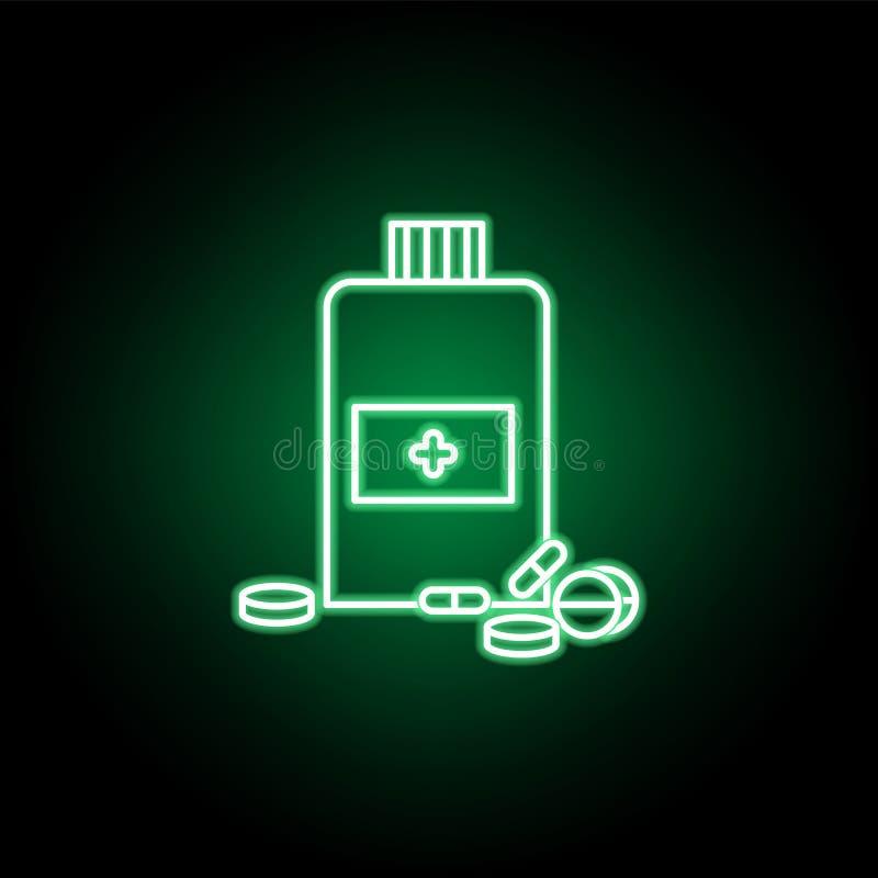 Ιατρικό εικονίδιο χαπιών ή ταμπλετών στο ύφος νέου Στοιχείο της απεικόνισης ιατρικής Το εικονίδιο σημαδιών και συμβόλων μπορεί να απεικόνιση αποθεμάτων
