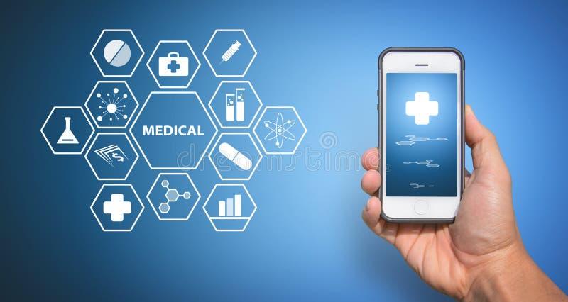 Ιατρικό εικονίδιο από το έξυπνο τηλέφωνο στοκ φωτογραφία με δικαίωμα ελεύθερης χρήσης