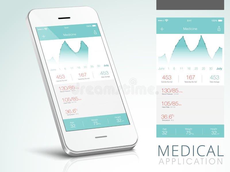 Ιατρικό ενδιάμεσο με τον χρήστη εφαρμογής με Smartphone απεικόνιση αποθεμάτων
