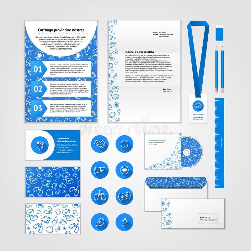 Ιατρικό εταιρικό σχέδιο ταυτότητας με τα σύγχρονα επίπεδα εικονίδια Επιχειρησιακά καθορισμένα χαρτικά διανυσματική απεικόνιση