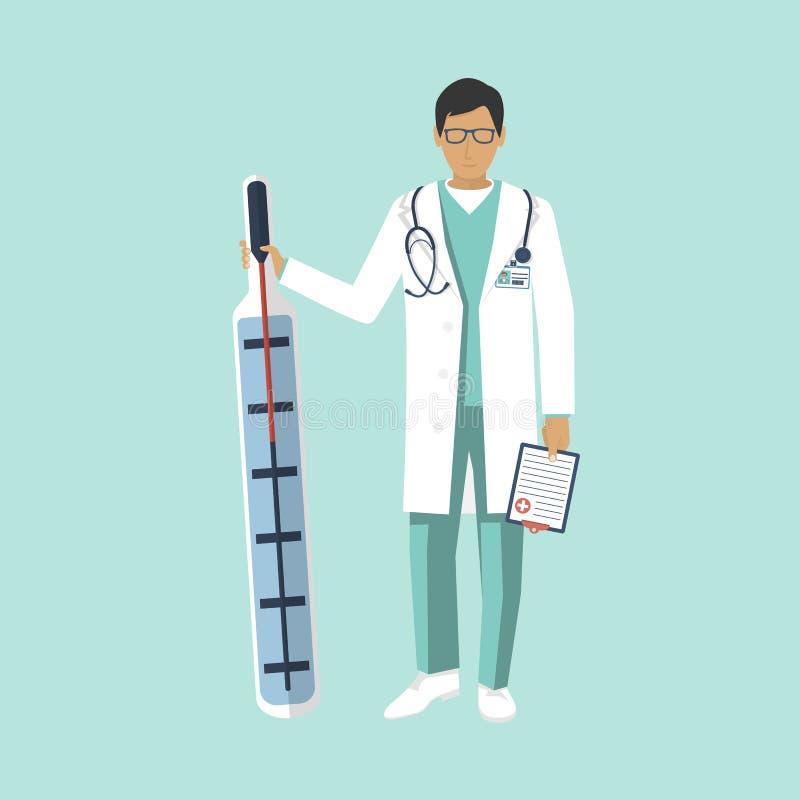 Ιατρικό θερμόμετρο λαβής γιατρών διανυσματική απεικόνιση