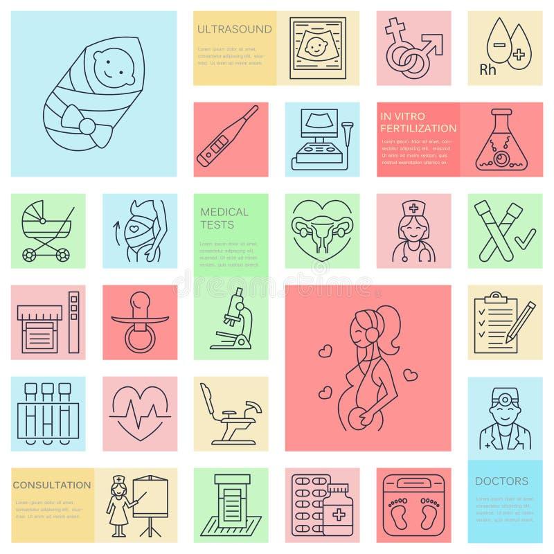 Ιατρικό διανυσματικό εικονίδιο γραμμών της εγκυμοσύνης και της υγείας γυναικών Στοιχεία - καρέκλα γυναικολογίας, μητρότητα, αναπα διανυσματική απεικόνιση