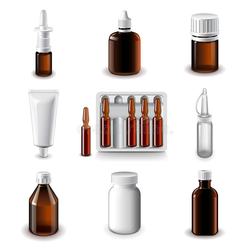 Ιατρικό διανυσματικό σύνολο εικονιδίων μπουκαλιών διανυσματική απεικόνιση
